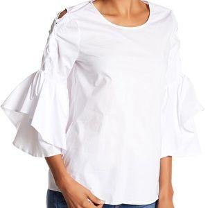 Pleione white bell sleeve tie side topD